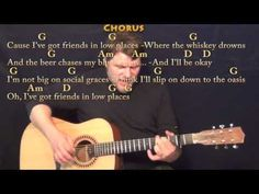 Friends in Low Places - Strum Guitar Cover Lesson with Chords/Lyrics - Capo 2nd - YouTube
