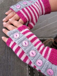 Free Knitting Pattern for Great Weekend Mitts - Easy striped fingerless mitts are great stashbusters. Designed by Thea Eschliman. Pictured project by nobiantary