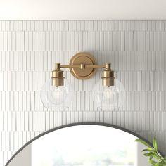 2 Light Bathroom Vanity Lighting You'll Love in 2020 Ceramic Mosaic Tile, Ceramic Subway Tile, Mosaic Wall, Subway Tiles, Mosaic Glass, Marble Mosaic, Marble Wood, Wall Tile, Wall Mirror