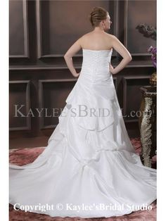 Embroiderd Beading Sweetheart Sweep Train Taffeta A-Line Plus Size Wedding Dress