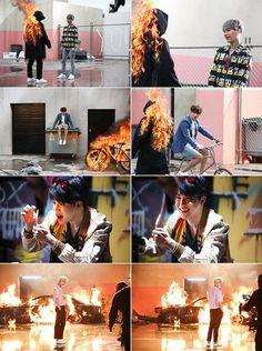 Suga, Jungkook, Jimin and Jin ❤ #BTS #방탄소년단 (in the making) FIRE MV.