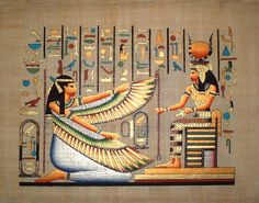 goddess Maat _ In ancient Egypt Maat was the goddess of truth, justice, righteousness and order, responsible for the maintenance of social and cosmic order, daughter (or mother) of Ra and wife of Thoth (some writers argue that the moon-god Thoth was Maat Egyptian Mythology, Egyptian Goddess, Ancient Egyptian Art, Ancient History, Egypt Art, Religion, Gods And Goddesses, Photos, Painting