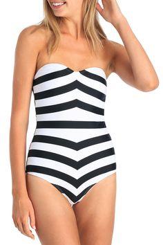 BARBIE X MISS SHOP SWIMWEAR: Stripe Strapless One Piece Swimsuit | MYER