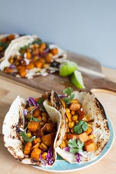 Moroccan Sweet Potato and Chickpea Tacos//a spicy vegetarian taco with cilantro yogurt sauce//Crestview Kitchen