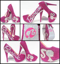 Barbie Heels with Swarovski Crystals on Pink Glitter Platforms