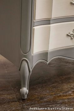 Southern Revivals | French Provincial Chalk Painted Gray Dresser Redo