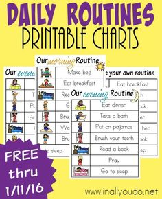 Start the new year off right with these FUN, colorful and FREE printable Daily Routine Charts! Use the pre-created lists or create your own! ENDS 1/11/16 :: www.inallyoudo.net