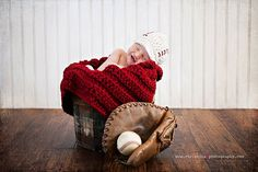 "Baseball Newsboy Cap with Chunky Blanket 28""x18"". $60.00, via Etsy."