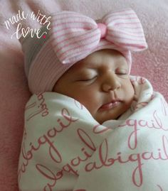 Personalized Gift Set. Newborn Hospital Hat (Regular top/double ply) and 100% Organic Swaddle Blanket.  Personalized Name Blanket.