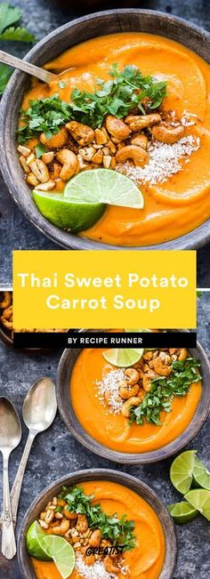 11 Whole 30 vegetarian dinners that don& just include sweet potatoes and avocado . - 11 Whole 30 vegetarian dinners that aren& just sweet potatoes and avocado – soups – - Sweet Potato And Avocado Recipe, Sweet Potato Carrot Soup, Avocado Soup, Avocado Recipes, Healthy Recipes, Vegan Carrot Soup, Sweet Potato Dinner, Sweet Potato Chili, Thai Carrot Soup