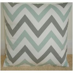 24x24 Zig Zag Pillow Cover Duck Egg and Grey 24 by pipdesigns