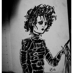 #inktober #Illustration for the night is from another classic #Halloween movie, Edward Scissorhands. One of the best Tim Burton movies ever! See more at http://facebook.com/abowersockdesign