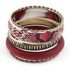 5 armbanden roze/goud tinten
