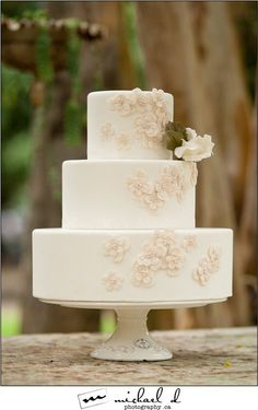 Perfectly elegant wedding cake by http://maggieaustincake.com! Photo by http://michaeldphotography.ca on http://WedOverHeels.com