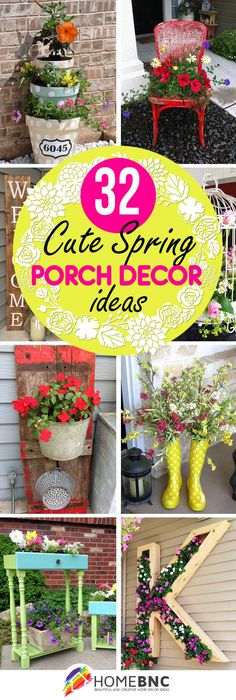 32 Best Spring Porch Decor Ideas And-Diy Outdoor Porch Decorating Ideas Backyard Patio, Diy Patio, Backyard Ideas, Patio Ideas, Garden Ideas, Garden Boxes, Landscaping Ideas, Decoration Plante, House With Porch