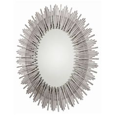 Large-scale oval wall mirror features a sunburst pattern with a rim of thin textured iron reeds in multiple lengths in an antiqued silver leaf finish.