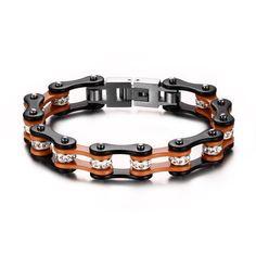 Motorcycle Rhinestones Biker Bicycle Chain Black&Orange Titanium Steel Bracelet