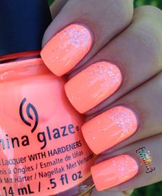 My Nail Polish Obsession: China Glaze Nail Polish in Flip Flop Fantasy with Silver Glitter Nail Polish Accent … Amazing! My Nail Polish Obsession: China Glaze Nail Polish in Flip Flop Fantasy with Silver Glitter Nail Polish Accent … Amazing! Neon Coral Nails, Coral Nail Polish, China Glaze Nail Polish, Peach Nails, Glitter Nail Polish, Polish Nails, China Glaze Neon, Summer Nail Polish Colors, Neon Toe Nails
