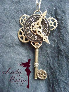 """Collier clef steampunk """"L'horloge déréglée"""""""