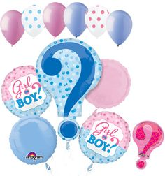 """Included in this bouquet: 11 Balloons Total 1 – 28"""" """"?"""" Pink & Blue Question Mark Shape Balloon 2 – 18"""" """"Girl or Boy?"""" Round Balloons 1 - 18"""" Light Blue Round Balloon 1 - 18"""" Pink Round Balloon 6 - 12"""
