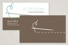 Any embroiderer, alteration professional, or sewing centered home based business would find this business card template simple, trendy and to the needle point. Warm and cool colors with a stylized needle and thread set this business card apart. #Inkd