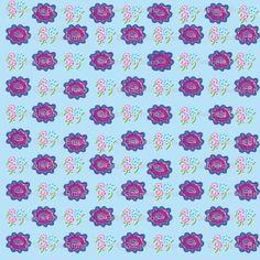 Three flowers + 1 on blue