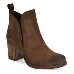 "Bos. & Co. 'Belfield' Waterproof Chelsea Boot, 3"" heel ($122) ❤ liked on Polyvore featuring shoes, boots, ankle booties, ankle boots, moss oilsuede, suede ankle boots, short suede boots, high heel ankle boots and suede platform booties"