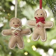 Gingerbread Man with Tie Felt Ornaments | Crate and Barrel