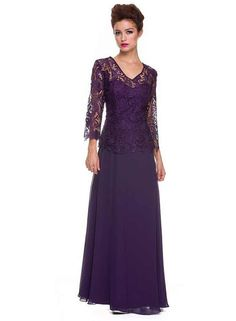 Plum long sleeve lace applique mother of the bride / Mother of the groom plus size formal gown