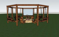 full render of the diy pergola with firepit, chairs, and swings - DIY tutorial Little White House Blog on @Remodelaholic