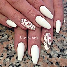 Lovely Nail Designs - Matte white Coffin nails with negative space. Gorgeous Nails, Love Nails, Fun Nails, Dream Nails, Matte Nails, Stiletto Nails, Glitter Nails, Acrylic Nails, Glitter Force
