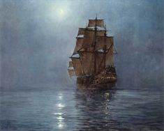 """Montague Dawson RMSA, FRSA (1895–1973) was a British painter who was renowned as a maritime artist. ~ """"Crescent Moon"""""""
