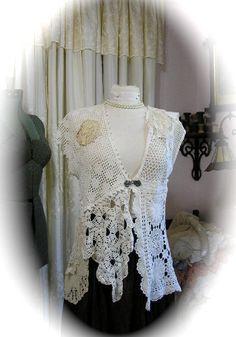 Shabby Doily Vest romantic cottage white by TatteredDelicates, $226.00