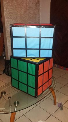 Rubiks cubes ... made out boxes.  My creation!   80's theme party.