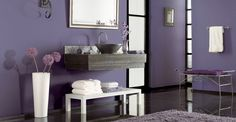 Purple Bathroom Design With White Table And Flowers Vase ~ http://lanewstalk.com/simple-purple-bathroom-design-ideas-for-small-space/