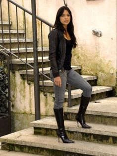 Black leather jacket and black boots