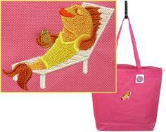 Sunbathing Beach Fish Tote Bag Hot Pink Large Zipper Vacation Holiday Monogram #LibertyBags #TotesShoppers