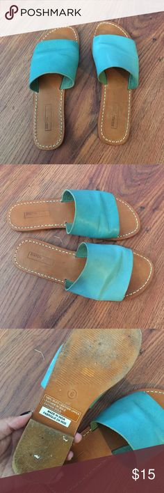 Bdg leather slide Sandal turquoise Used pre loved Urban Outfitters Shoes Sandals