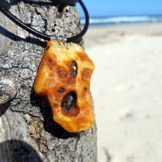 Nice Massive One Sided Raw Baltic Amber Pendant