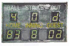 "Metal Sign, ""Baseball Scoreboard"" Baseball Scoreboard, Baseball Hats, Baseball Sunglasses, The Sporting Life, Baseball Training, H & M Home, Metal Signs, Antiques, Restaurant Ideas"