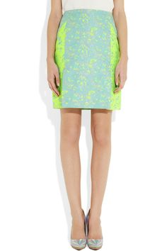 Richard Nicoll|Neon color-block brocade skirt|NET-A-PORTER.COM