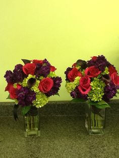 Bridesmaid Bouquets Red Roses with Dark Purple Stock and mini Green Hydrangea with a few Eggplant mini Calla Lily Great for Late Fall Wedding Bouquet