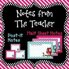 A Note from the Teacher - Post-it Notes and Half Sheet Notes - Stationery