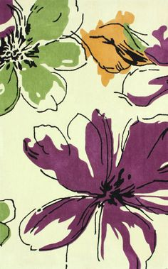 Rugs USA Keno ACR169 Purple Rug, 100% Polyester, Hand Tufted, Contemporary Rugs Country & Floral Rugs, discount, sale, home decor, interior design, green, purple, ivory.