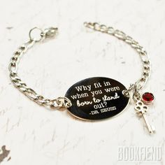 Hey, I found this really awesome Etsy listing at https://www.etsy.com/listing/227094207/why-fit-in-dr-suess-quote-oval-bracelet