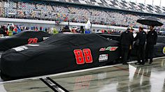 ARTICLE (Feb. 26, 2012): Rain showers persisted today at Daytona International Speedway, prompting NASCAR officials to postpone the Daytona 500 until 12 p.m. ET on Monday. The race will air live on FOX.
