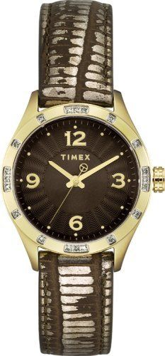 Timex Womens T Series Brown Dial Diamond Encrusted Bezel Distressed Leather Watch T2M599 ** See this great product.