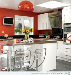 The large red pendant light was the inspiration for the look and makes a fabulous focal point.