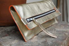 Zip Clutch in Metalic Leather by MadelineChadwick on Etsy, $85.00