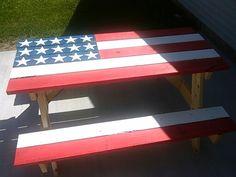 American flag picnic table